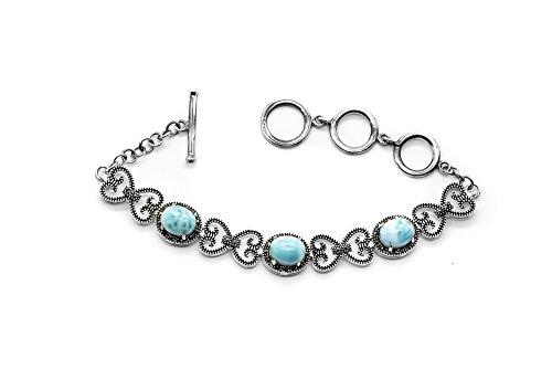 Aziel 925 Sterling Silver Oval Larimar Gemstone Love Heart Link - Link Heart Bracelet Oval