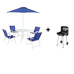 Mainstays Albany Lane 6-Piece Folding Dining Set (Blue with Grill)