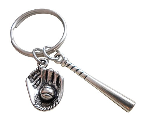 Baseball Bat and Mitt Keychain - You Are a Great Catch; Couples or Team Keychain