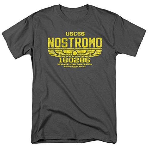 Alien USCSS Nostromo Vintage Logo Charcoal Gray T Shirt & Stickers (Large) ()