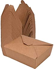 80 Pack Take Out Food Containers 26 Oz Disposable Kraft Paper Take Out Box Microwaveble Leak and Grease Resistant