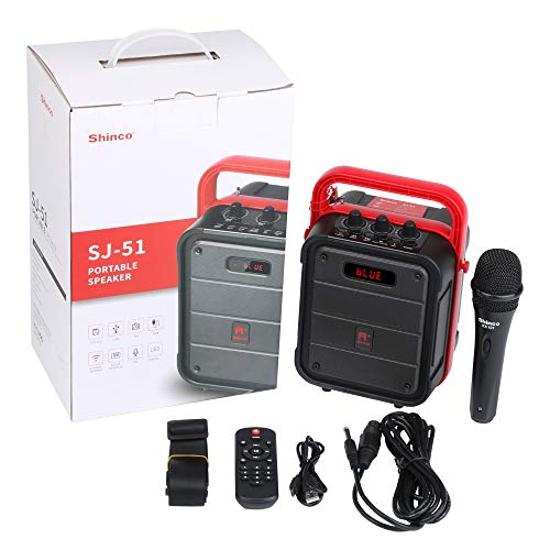 Shinco Portable Karaoke Machine with Microphone, Bluetooth Speaker with FM Radio, Remote Control, Audio Recording,Perfect for Party