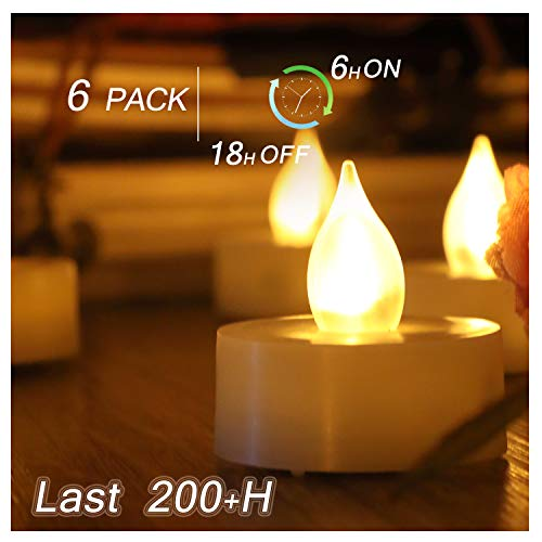 6 PCS Premium Flameless Tealights with Timer, LED Tealights, Battery Powered Tealights, Battery-Operated Tea Lights with Timer, Long Battery Life, 200+ Hours Battery Life (With Lights Tea Timers)