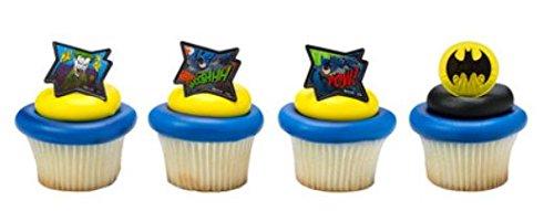 Batman Pow! Whooshhh! Cupcake Rings Party of 24 Cupcake Decoration Kit