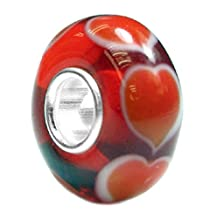 Sterling Silver For European Chamilia Biagi Troll Pandora Charm Braceletsever Endless Love Red Heart Glass Bead For European Chamilia Biagi Troll Pandora Charm Bracelets