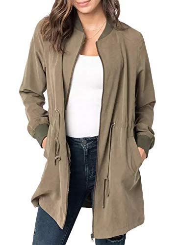 BLENCOT Womens Fall Long Jacket Full Sleeve Zip-Front Flowy Solid Tunic Sweatshirt Coat Outdoor Windbreaker Green -