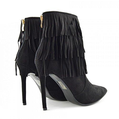 Stilletto Stilletto Tacchi Ankle Punta Footwear Womens Womens Womens Stivali Donna Nappa A Frangia Kick Camoscio Boots Nero Toe 0YnAwx