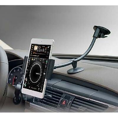 Zuwit - Soporte de coche con ventosa para Apple iPhone, iPad, tablet y otros dispositivos (cuello flexible, rotación de 360º)