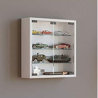 Inter Link Simply Vitrina de madera MDF y vidrio, Blanco, 80 x 9.5 x 60 cm: Amazon.es: Hogar