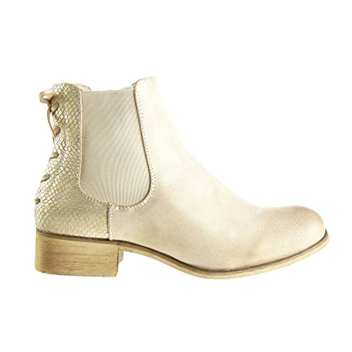 Angkorly Damen Schuhe Stiefeletten - Chelsea Boots - Knoten - Spitze Blockabsatz 3 cm Gold