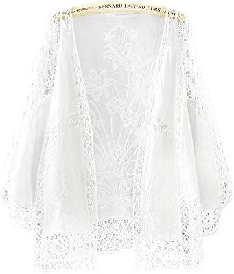 [해외]카디 건 여성 얇은 긴 소매 레이스가 디 건 きれめ 걸쳐 입 어 귀여운 꽃무늬 자 수 가운 아우터 상판 여름 봄 옷 선탠 수영복 냉방 대책 / Cardigan Women`s Thin Long Sleeve Lace Cardigan Clear Ei-han, Cute Floral Embroidery Gown Outer tops...