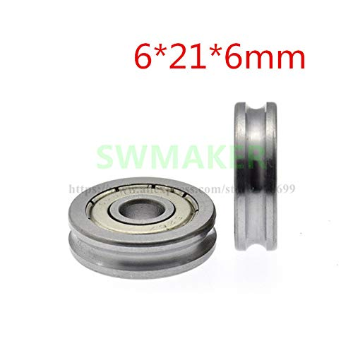Fevas 10pcs 6216mm 626 Bearings, U grooved Roller with Groove, Conductor Groove Wheel, 3 mm Diameter Track Wheel