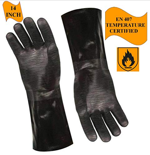 Artisan Griller BBQ Heat Resistant Insulated Smoker, Grill, Fryer, Oven, Brewing, Cooking Gloves. Great for Barbecue/Frying/Grilling - Waterproof, Fire&Oil Resistant Neoprene-1 Pair Size 9/LG-14""