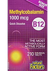Natural Factors B12 Methylcobalamin 1000 mcg BONUS SIZE, 210 Tablets