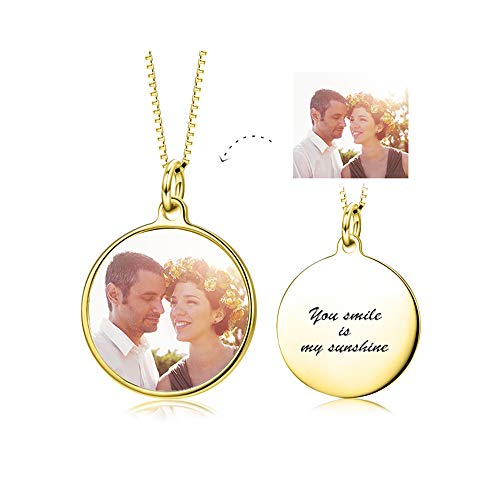 - LONAGO Full Color Photo Personalized 925 Sterling Silver Necklace Custom Pet Cat Dog Family Mother Baby Picture Round Square Shape Pendant (Round/Gold-Plated-Silver)