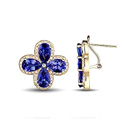 Yellow Gold Diamond Tanzanite Earrings