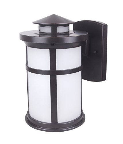 - CORAMDEO Outdoor LED Mission Style Wall Lantern, Sconce or Porch Light, 11.5W brings 1050 Lumens Similar to 100W Traditional Bulb, Durable Aluminum Housing with Frosted Glass, ETL and Energy Star, Sui