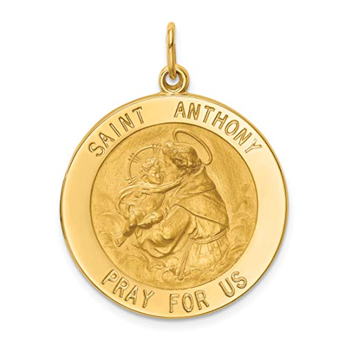 - Solid 14k Yellow Gold Pray For Us Saint Anthony Words On Round Quarter Size Charm