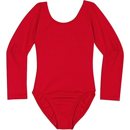 Toddler and Girls Leotard for Dance, Gymnastics and Ballet with Long Sleeve Red S (4-5)