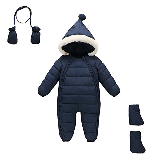 Baby Toddler Snow Suit - Mud Kingdom 3 Piece Baby Toddler Boy All in One Snowsuit Romper Winter 18-24M Navy Blue
