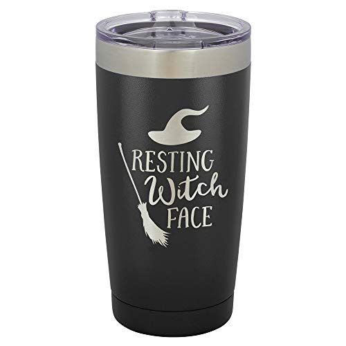 RESTING WITCH FACE Black 20 oz Drink Tumbler Includes Spill Proof Lid and Straw | Engraved Yeti Style Insulated Travel Mug | Funny Fall & Halloween Quotes | -