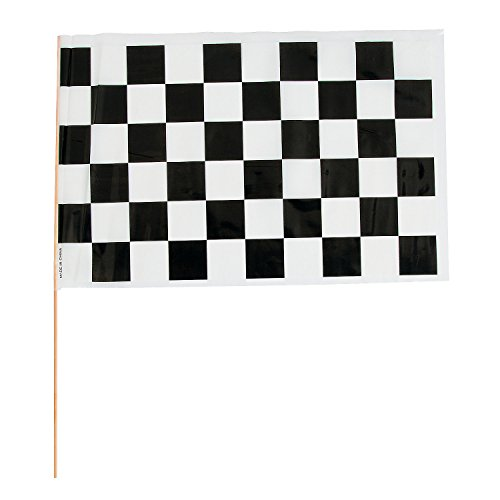 - Fun Express - Plastic Checkered Racing Flags for Party - Party Decor - General Decor - Flags - Party - 12 Pieces