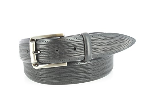 Remo Tulliani Men's 35mm Wide Raspail Tire Tread Embossed Italian Leather Belt