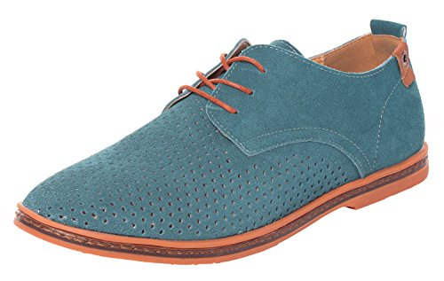 Serene Men's Summer Fashion Lace Up Suede Leather Cutout Breathable Casual Oxfords(10 D(M)US,green) (10 D(M)US, (Sofft Tall Shoes)
