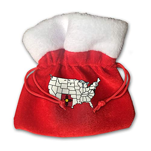 CYINO Personalized Santa Sack,Obvious New Mexico in Map Portable Christmas Drawstring Gift Bag (Red)
