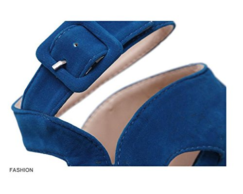 Tacon Alto Para Mujer Plataforma RocíO Del Dedo Del Terciopelo Hollow Moda  Nuevo Zapatos Con Sandalias Tacones De Plataforma 16cm (39 0d355102bbac
