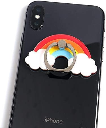人格クリエイティブアクリルリングバックル電話ホルダー漫画360度回転かわいいデスクトップスタンド (Color : C)