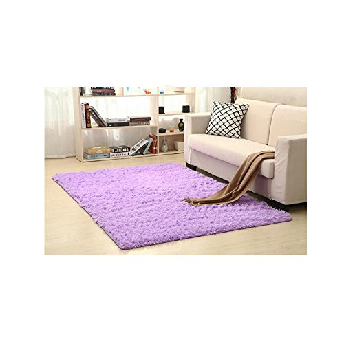 Shaggy Anti-skid Carpets Rugs Floor Mat/Cover 80x120cm Purple - 1