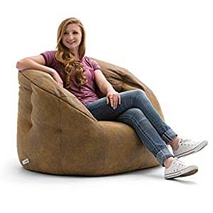 Lux by Big Joe Large Milano in Blazer Bean Bag, Multicolor/Camel