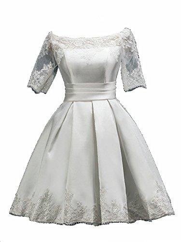 Brautkleid Kurz Festkleid Partykleid Abendkleid Ballkleider Weiß Kurzarm Damen JAEDEN Satin XUwxvt8Znq