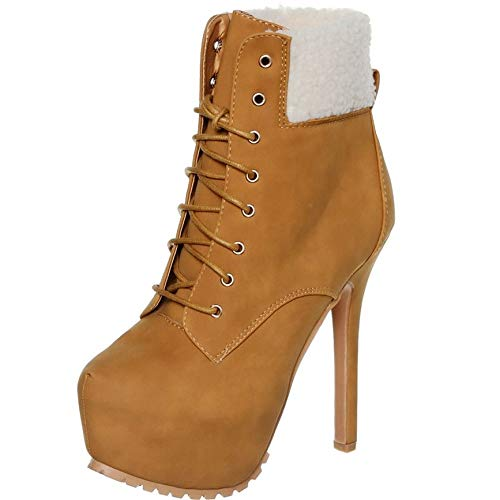 (shoewhatever Round Toe Hidden Platform Dressy Lace up High Heels Ankle Booties Boots (8, Tan))