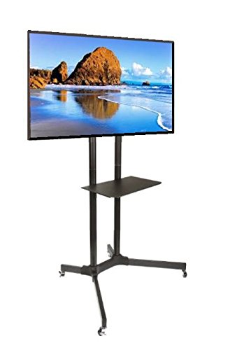 EZM Mobile TV Cart Rolling Stand for LCD LED Plasma Flat Panel with Shelf Fits 32″-65″ (002-0032)