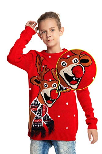 U LOOK UGLY TODAY Childrens Kids Knit Woolen Ugly Christmas Sweater, Large (10-11 Years Old) (Boys Ugly Christmas Sweater)