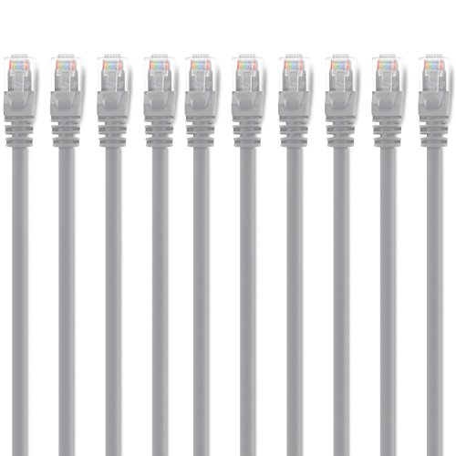 Free GearIT 10 Pack, Cat 6 Ethernet Cable Cat6 Snagless Patch 10 Feet - Computer LAN Network Cord, Gray - Compatible with 10 Port Switch POE 10port Gigabit