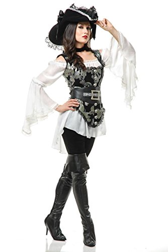 Charades Women's Pirate Lady Costume, Silver, Medium by Charades
