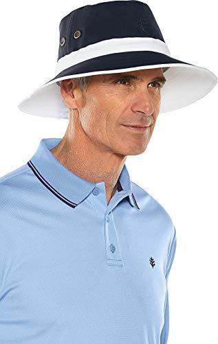 Coolibar UPF 50+ Men's Women's Matchplay Golf Hat - Sun Protective (Large/X-Large- White/Navy)