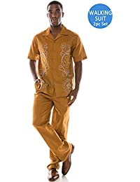 Men's Solid 2-Piece Short Sleeve Walking Suit (Big Size Plus Size Upto 6XL)