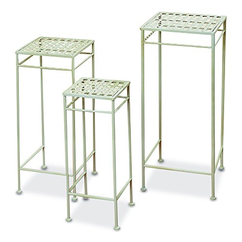 The French Country Style Plant Stands, Set of 3, Nesting Tables, Square Woven Tops, Slim Line Base, Romantic White Rust Resistant Metal, Approx. 29, 25, 21 Inches Tall, By Whole House Worlds