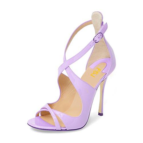Pumps Shoes Light Women Sandals Heels Glossy 15 4 Peep Size Strappy Toe US FSJ Stiletto Purple with D'orsay Buckle vTnqtwdT