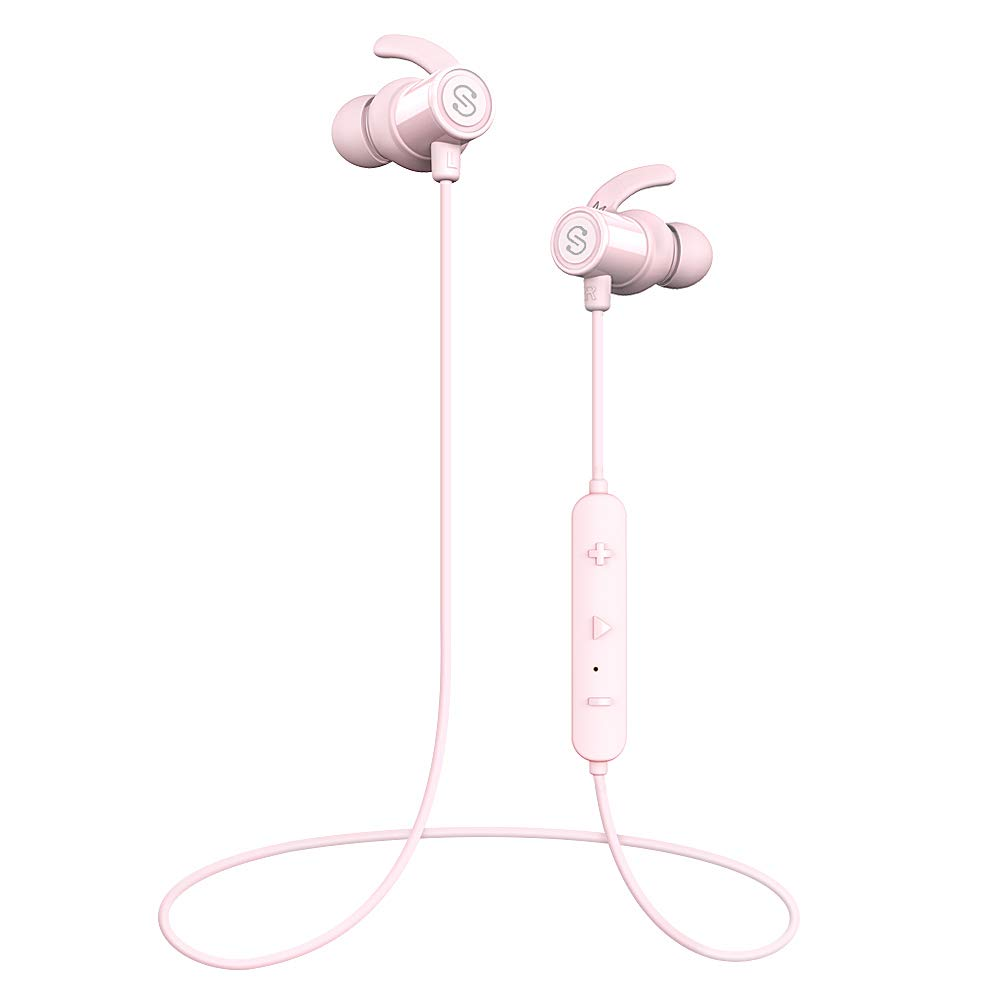 SoundPEATS Magnetic Wireless Earbuds Bluetooth Headphones Sport In-Ear IPX 6 Sweatproof Earphones with Mic (Super sound quality Bluetooth 4.1, aptx, 8 Hours Play Time, Secure Fit Design) (Pink) by SoundPEATS