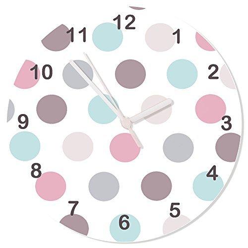 Girls Clocks, Pink & Grey Clock, Pastel Clock, Silent Clock,