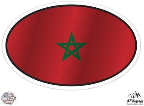 Morocco Flag Oval Vinyl Sticker Waterproof Decal