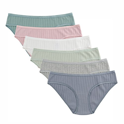 - Knitlord Women's Cotton Stretch Bikini Panties Comfort Rib Underwear 6 Pack, L, Assorted 6pk