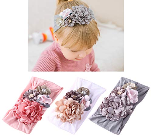 Flower Headband Bow - DANMY Baby Girl Nylon Headbands Newborn Infant Toddler Hairbands and Bows Child Hair Accessories (Nylon Flower (3pcs))