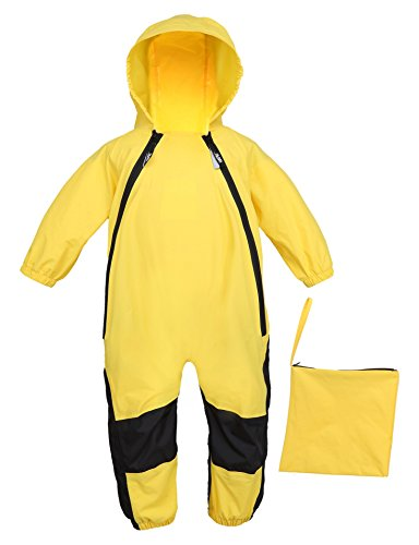 HAPIU Kids and Toddler One Piece Waterproof Coverall Rain Suit with Hood, YL,12M