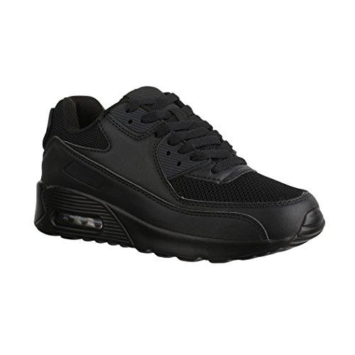 Elara Damen Herren Sneaker | Unisex Sport Laufschuhe | Turnschuhe | Chunkyrayan Black Paris